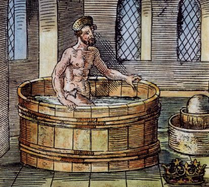 Archimedes in his bath (16th-century woodcut) (Artist unknown; public domain: PD-1923)