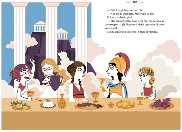 Rita Petruccioli's modern illustration of the gods' banquet