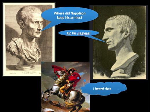 With apologies to Cicero, Caesar, Napoleon . . .