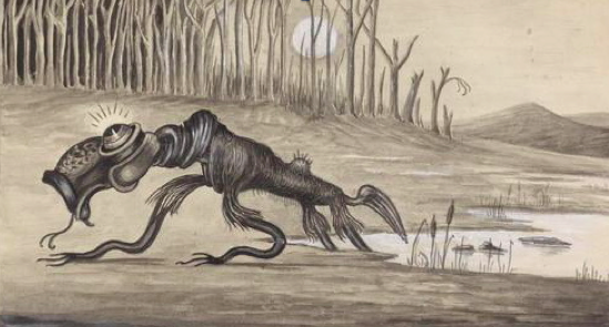 Watercolour Painting of a Bunyip- 1935 Artist unknown Image source: Wikimedia Commons