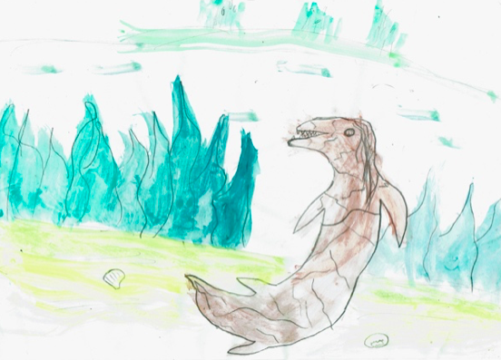Watercolour: The Bunyip in my Creek Artist: Nuala O'Faolan : Age 10 Image Source: The Lark Magazine