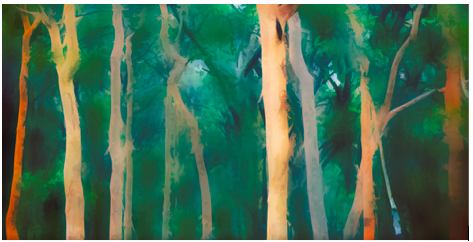 Abstract misty forest background illustration By KHBlack @ Adobe Stock Images
