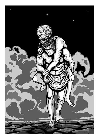 Aeneas and Anchises, illustrated by Matt Wolf for The Way Home